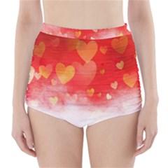 Abstract Love Heart Design High Waisted Bikini Bottoms