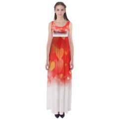Abstract Love Heart Design Empire Waist Maxi Dress