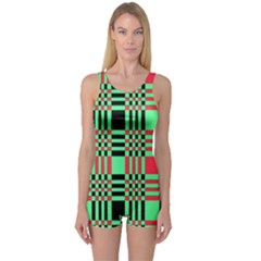 Bright Christmas Abstract Background Christmas Colors Of Red Green And Black Make Up This Abstract One Piece Boyleg Swimsuit