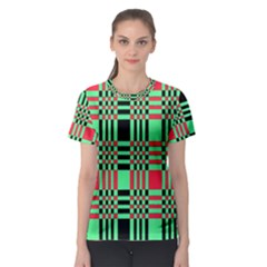 Bright Christmas Abstract Background Christmas Colors Of Red Green And Black Make Up This Abstract Women s Sport Mesh Tee