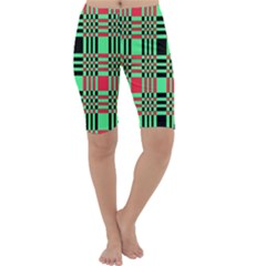 Bright Christmas Abstract Background Christmas Colors Of Red Green And Black Make Up This Abstract Cropped Leggings