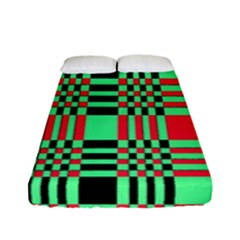 Bright Christmas Abstract Background Christmas Colors Of Red Green And Black Make Up This Abstract Fitted Sheet (full/ Double Size)