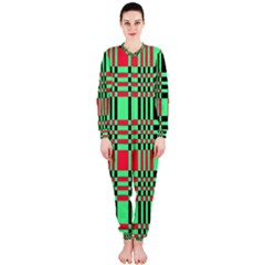 Bright Christmas Abstract Background Christmas Colors Of Red Green And Black Make Up This Abstract Onepiece Jumpsuit (ladies)