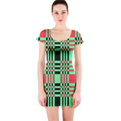 Bright Christmas Abstract Background Christmas Colors Of Red Green And Black Make Up This Abstract Short Sleeve Bodycon Dress