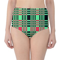Bright Christmas Abstract Background Christmas Colors Of Red Green And Black Make Up This Abstract High-Waist Bikini Bottoms