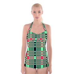 Bright Christmas Abstract Background Christmas Colors Of Red Green And Black Make Up This Abstract Boyleg Halter Swimsuit