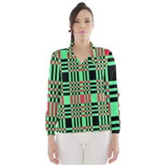 Bright Christmas Abstract Background Christmas Colors Of Red Green And Black Make Up This Abstract Wind Breaker (women)
