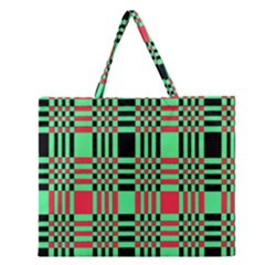 Bright Christmas Abstract Background Christmas Colors Of Red Green And Black Make Up This Abstract Zipper Large Tote Bag