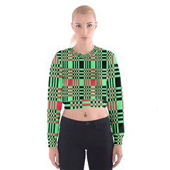 Bright Christmas Abstract Background Christmas Colors Of Red Green And Black Make Up This Abstract Women s Cropped Sweatshirt