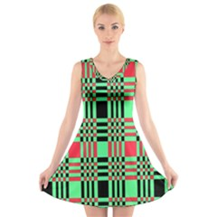 Bright Christmas Abstract Background Christmas Colors Of Red Green And Black Make Up This Abstract V Neck Sleeveless Skater Dress