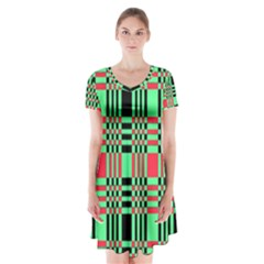 Bright Christmas Abstract Background Christmas Colors Of Red Green And Black Make Up This Abstract Short Sleeve V Neck Flare Dress