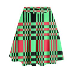 Bright Christmas Abstract Background Christmas Colors Of Red Green And Black Make Up This Abstract High Waist Skirt