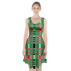 Bright Christmas Abstract Background Christmas Colors Of Red Green And Black Make Up This Abstract Racerback Midi Dress