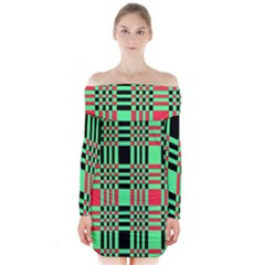 Bright Christmas Abstract Background Christmas Colors Of Red Green And Black Make Up This Abstract Long Sleeve Off Shoulder Dress