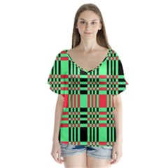 Bright Christmas Abstract Background Christmas Colors Of Red Green And Black Make Up This Abstract Flutter Sleeve Top