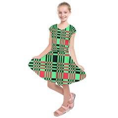 Bright Christmas Abstract Background Christmas Colors Of Red Green And Black Make Up This Abstract Kids  Short Sleeve Dress