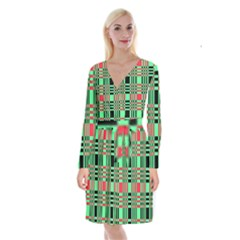 Bright Christmas Abstract Background Christmas Colors Of Red Green And Black Make Up This Abstract Long Sleeve Velvet Front Wrap Dress