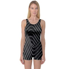 Chrome Abstract Pile Of Chrome Chairs Detail One Piece Boyleg Swimsuit