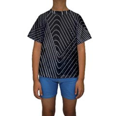Chrome Abstract Pile Of Chrome Chairs Detail Kids  Short Sleeve Swimwear
