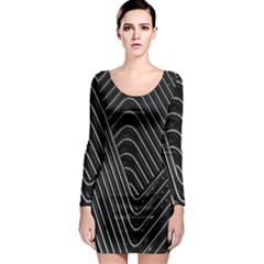 Chrome Abstract Pile Of Chrome Chairs Detail Long Sleeve Bodycon Dress