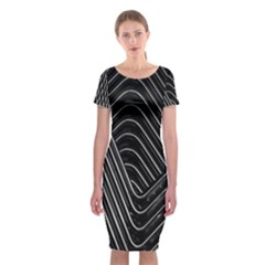 Chrome Abstract Pile Of Chrome Chairs Detail Classic Short Sleeve Midi Dress