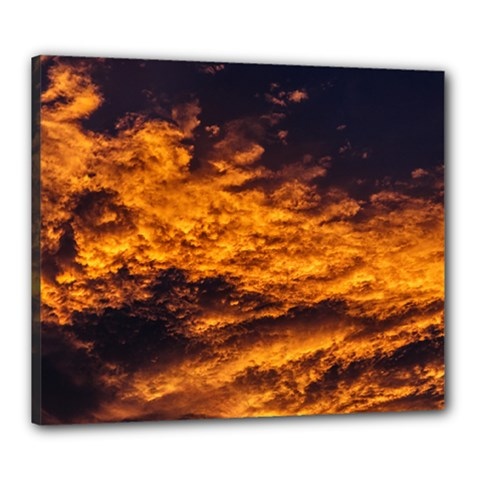 Abstract Orange Black Sunset Clouds Canvas 24  X 20