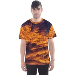 Abstract Orange Black Sunset Clouds Men s Sport Mesh Tee