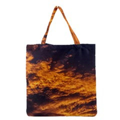 Abstract Orange Black Sunset Clouds Grocery Tote Bag