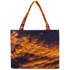 Abstract Orange Black Sunset Clouds Mini Tote Bag