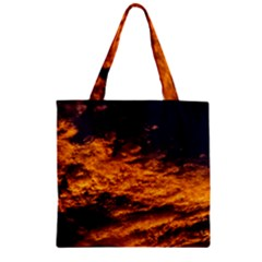 Abstract Orange Black Sunset Clouds Zipper Grocery Tote Bag