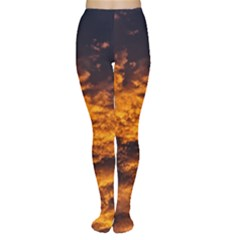 Abstract Orange Black Sunset Clouds Women s Tights