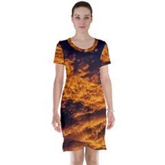 Abstract Orange Black Sunset Clouds Short Sleeve Nightdress