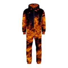 Abstract Orange Black Sunset Clouds Hooded Jumpsuit (Kids)