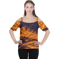 Abstract Orange Black Sunset Clouds Women s Cutout Shoulder Tee