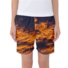 Abstract Orange Black Sunset Clouds Women s Basketball Shorts