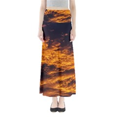 Abstract Orange Black Sunset Clouds Maxi Skirts