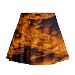 Abstract Orange Black Sunset Clouds Mini Flare Skirt