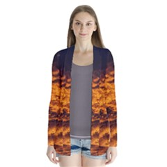 Abstract Orange Black Sunset Clouds Cardigans