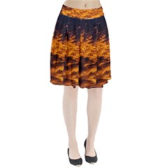 Abstract Orange Black Sunset Clouds Pleated Skirt