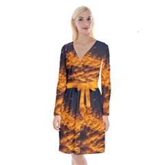 Abstract Orange Black Sunset Clouds Long Sleeve Velvet Front Wrap Dress