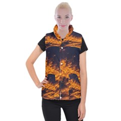 Abstract Orange Black Sunset Clouds Women s Button Up Puffer Vest