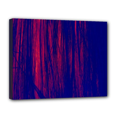Abstract Color Red Blue Canvas 14  X 11
