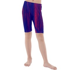 Abstract Color Red Blue Kids  Mid Length Swim Shorts