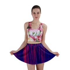 Abstract Color Red Blue Mini Skirt