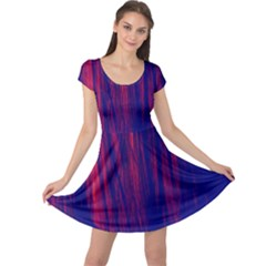 Abstract Color Red Blue Cap Sleeve Dresses
