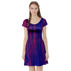Abstract Color Red Blue Short Sleeve Skater Dress
