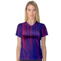 Abstract Color Red Blue Women s V Neck Sport Mesh Tee