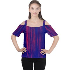 Abstract Color Red Blue Women s Cutout Shoulder Tee