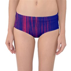 Abstract Color Red Blue Mid Waist Bikini Bottoms