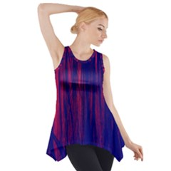 Abstract Color Red Blue Side Drop Tank Tunic